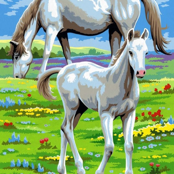 Painting By Numbers Horses project for children and adults
