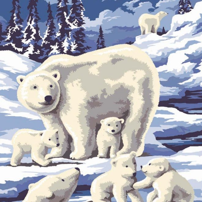 Beautiful polar bears painting by numbers craft project