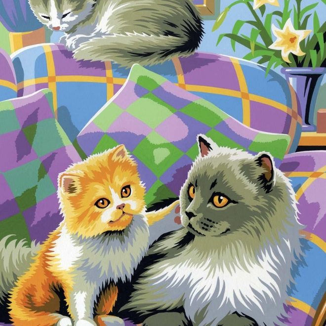 Painting By Numbers Cats design features three snoozing cats