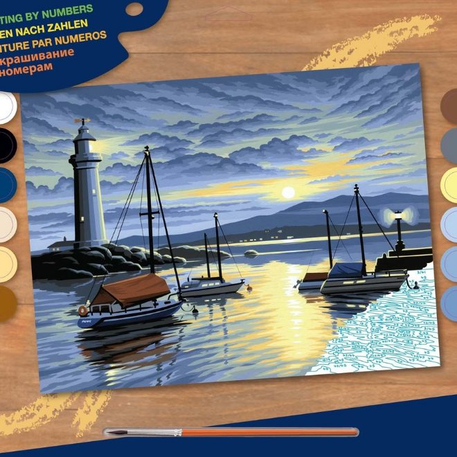 Senior Painting By Numbers Harbour At Sunrise painting project