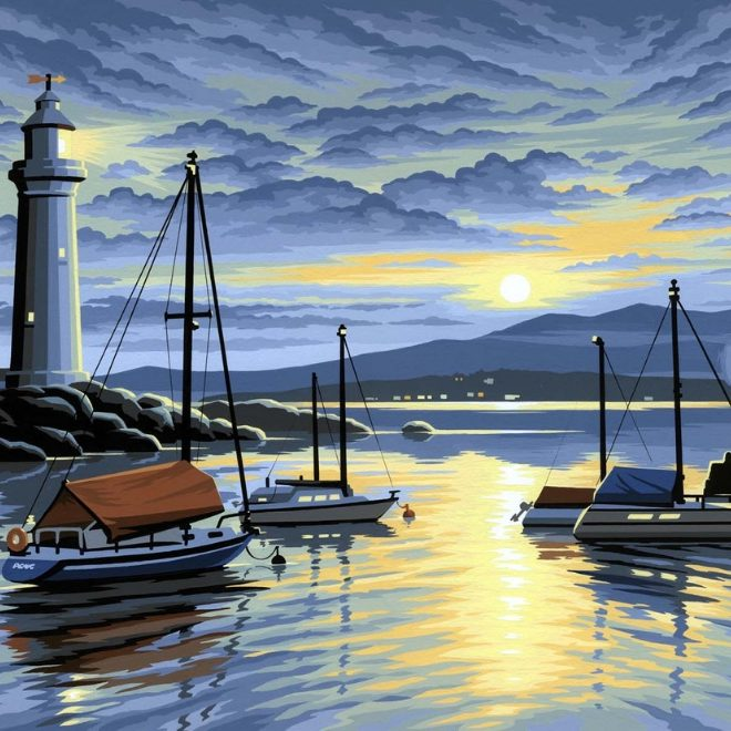 Senior Painting By Numbers Harbour At Sunrise craft project