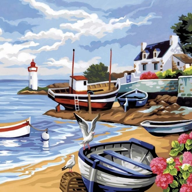 Senior Painting By Numbers Fishing Village craft project