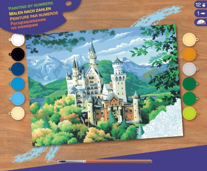 Get creative with this Senior Painting By Numbers Neuschwanstein Castle craft project