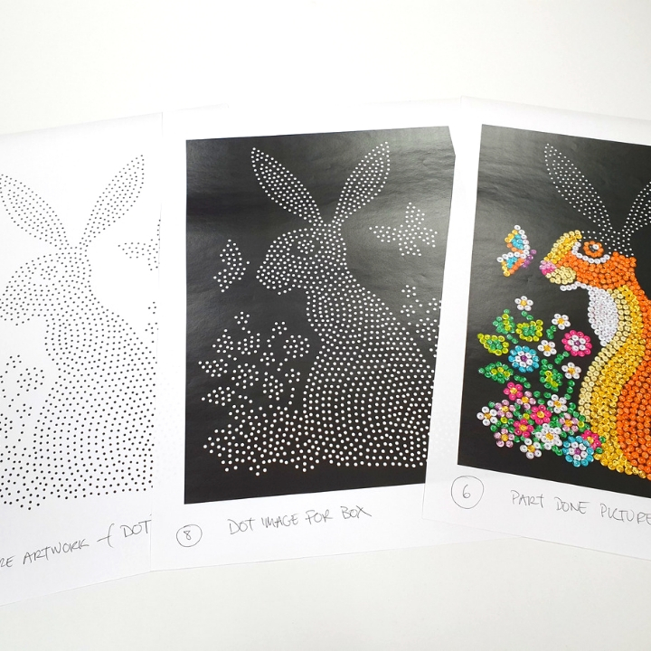 Creating Sequin Art Hare craft kit