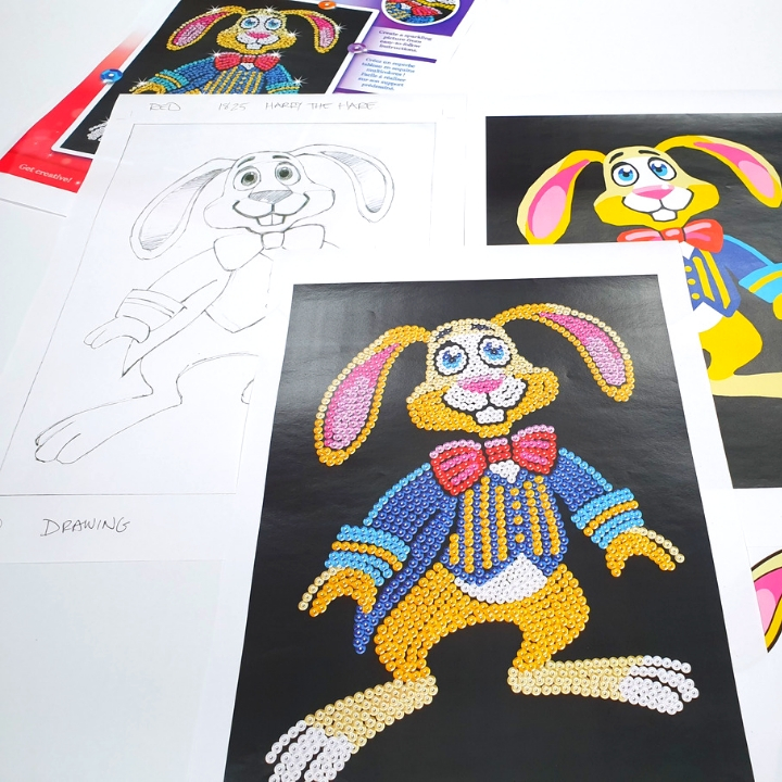 Creating Sequin Art Harry Hare craft kit