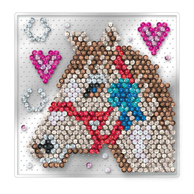 Craft kit for kids featuring Horse design from the Pin-free Sequin Art range