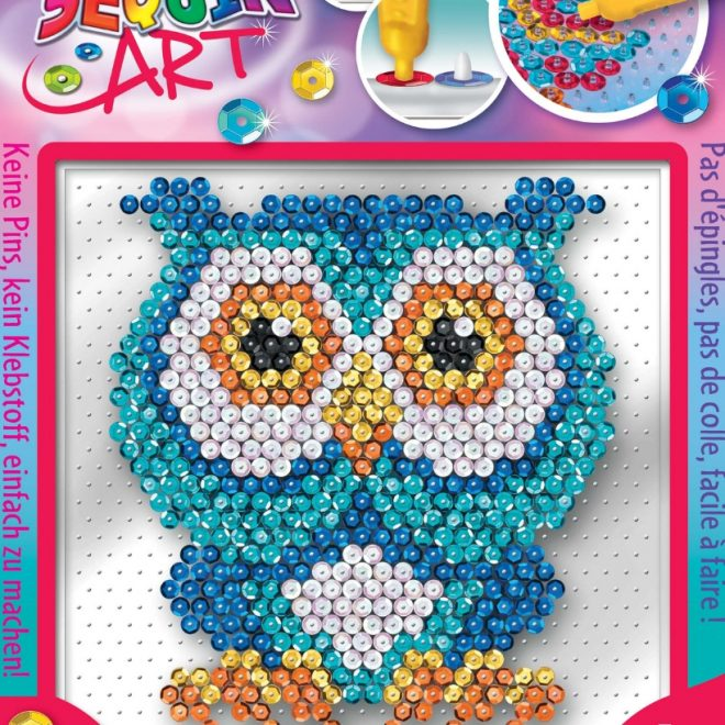 The Owl craft set from the Pin-free Sequin Art collection