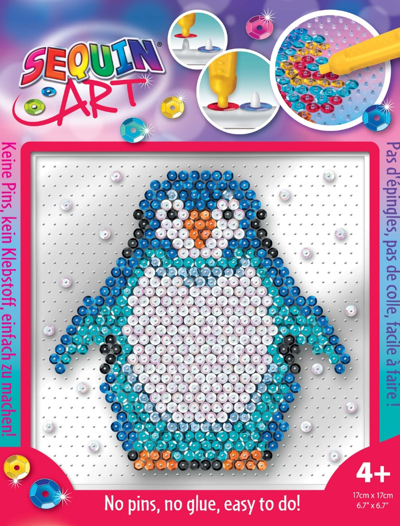 Sparkly Penguin kids craft project from the Pin-free Sequin Art range