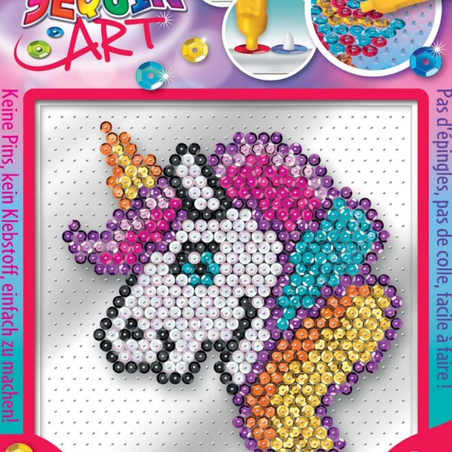The Unicorn craft project from the Pin-free Sequin Art
