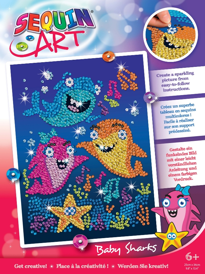 Baby Sharks Sequin Art craft kit