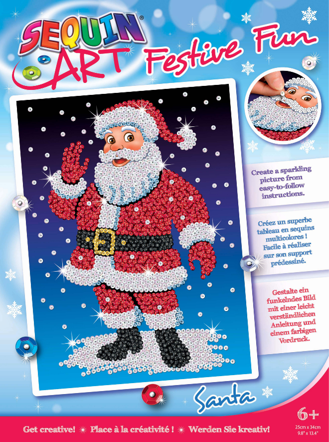 Sequin Art Santa design from the Festive Fun range