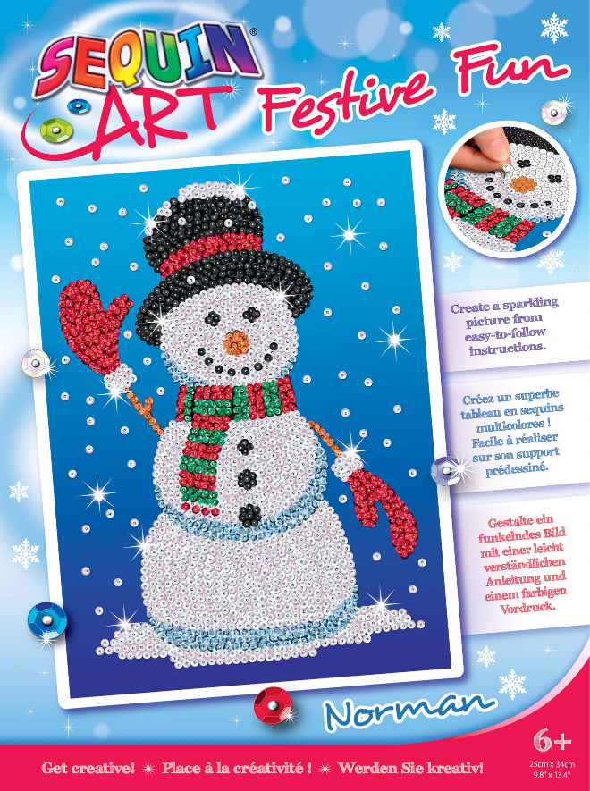 Sequin Art Norman the Snowman craft project
