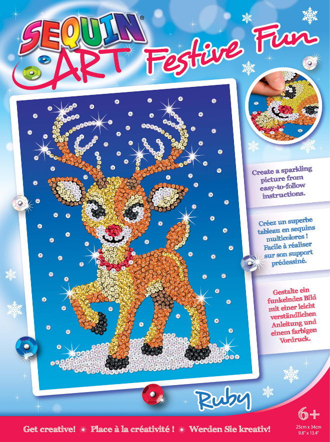 Sequin Art Ruby Reindeer craft project