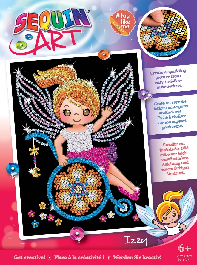 Sequin Art Izzy the Fairy project in collaboration with Toy Like Me