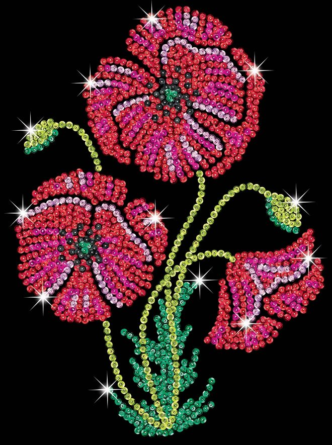 Stunning Sequin Art Poppies craft project from the new Purple range