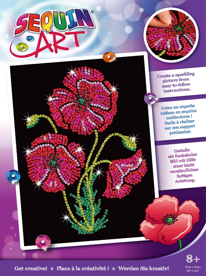 Sequin Art Poppies craft kit from the Purple Range
