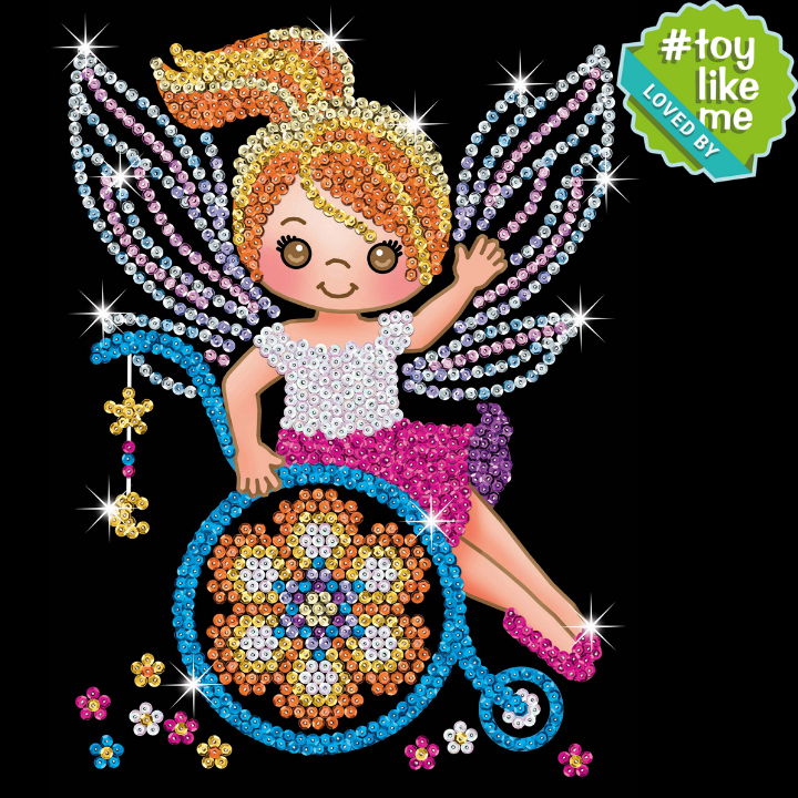 Sequin Art Izzy Fairy craft project loved by ToyLikeMe