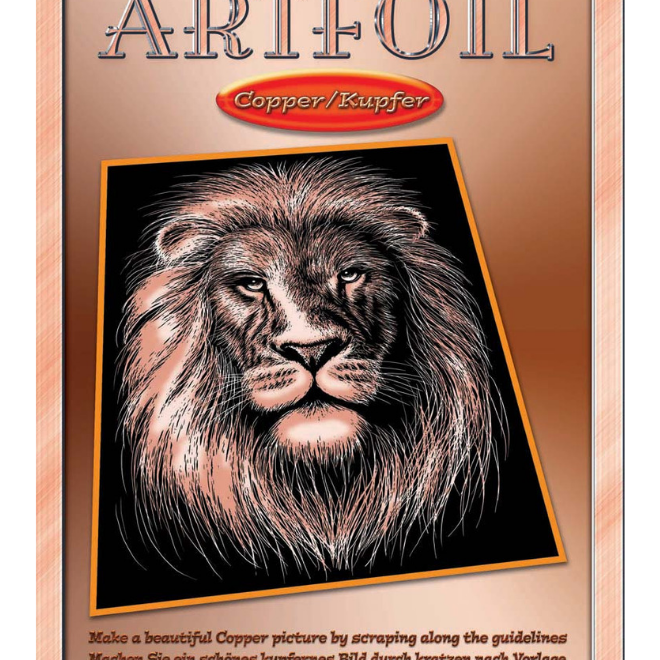 Scratch Art Lion kit from the Artfoil Copper range