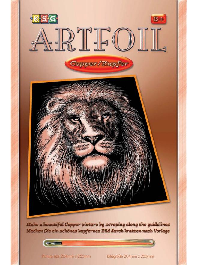 Scratch Art Lion kit from the Artfoil Copper range