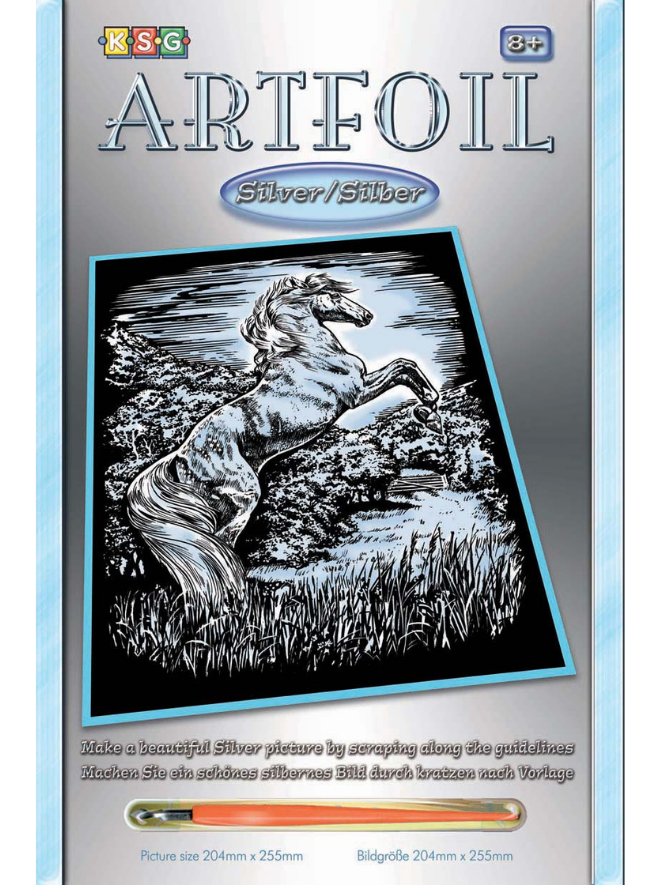 Scratch Art Stallion picture from the Artfoil Silver range