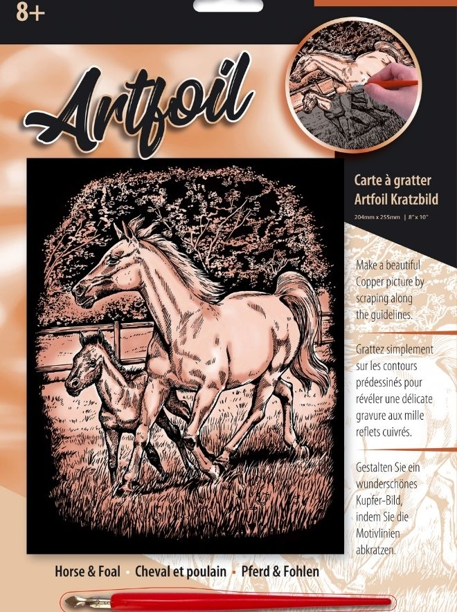 Scratch Art Horse & Foal arfoil craft project for adults and children