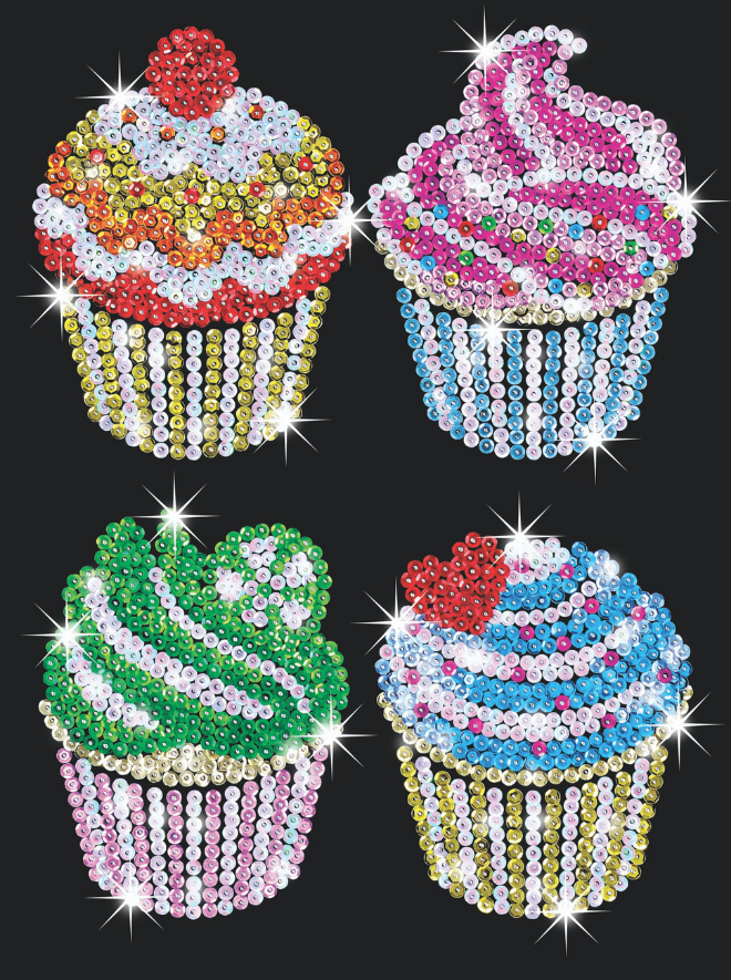 Sequin Art Cupcakes craft project from the Blue range