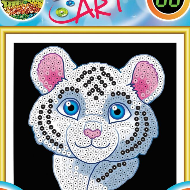 SEquin Art 60 White Tiger kids craft project