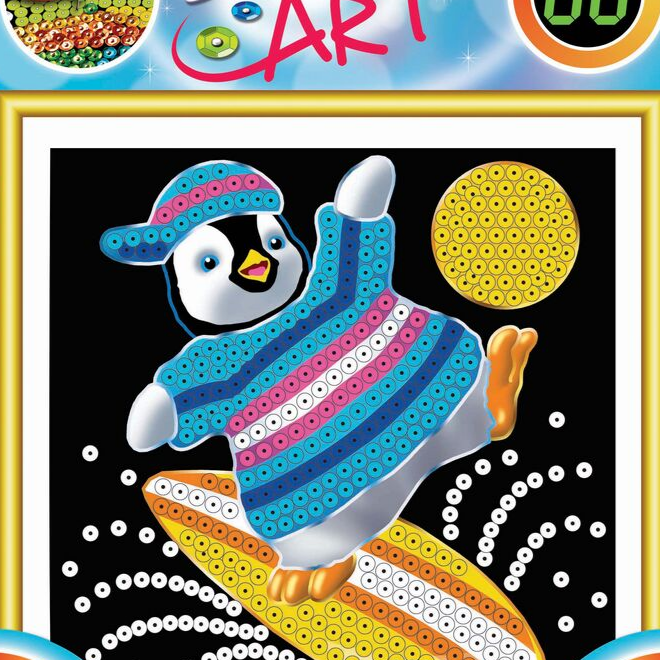 Sequin Art Penguin craft for kids