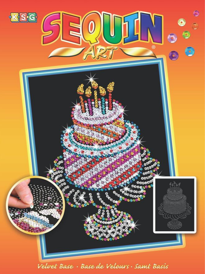 Sequin Art Birthday Cake project from the Orange range