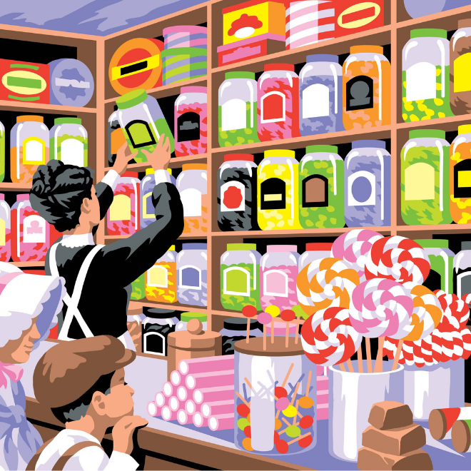 Pain your own Sweet Shoppe picture with this Painting By Numbers project