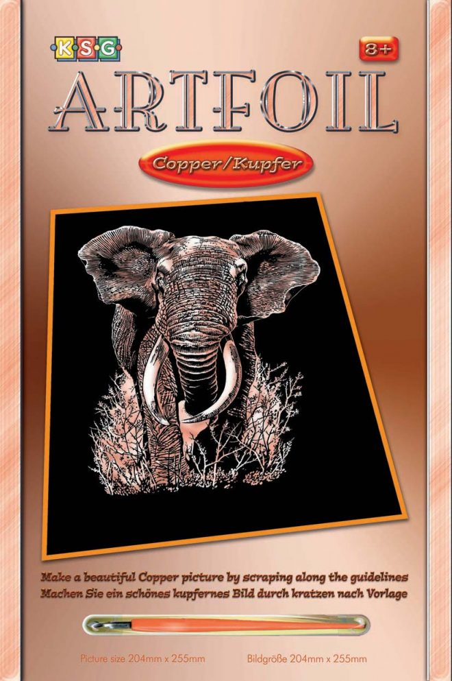 Scratch Art Elephant picture from the Artfoil Copper collection