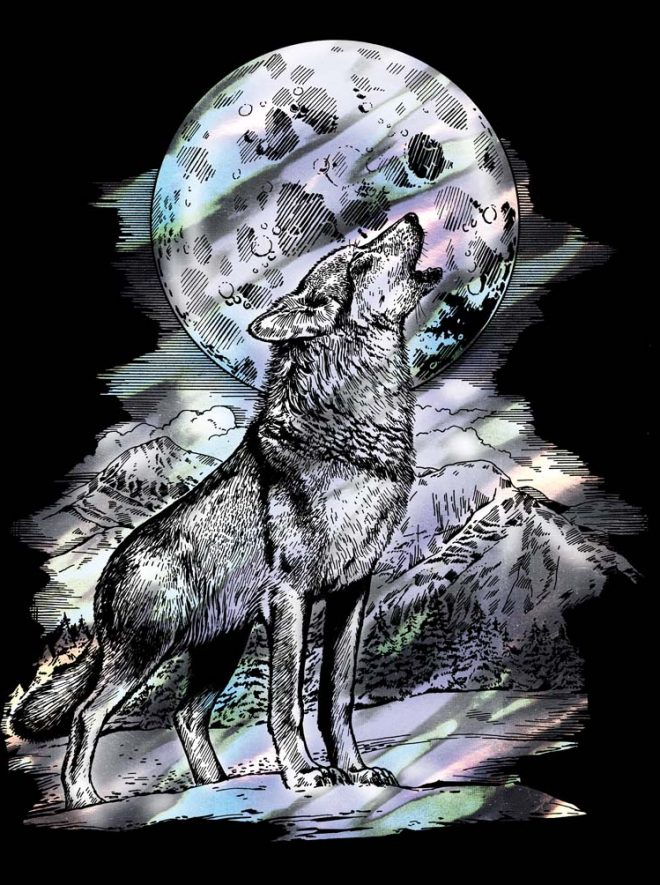 Scratch Art Wolf craft from the Artfoil Holographic range