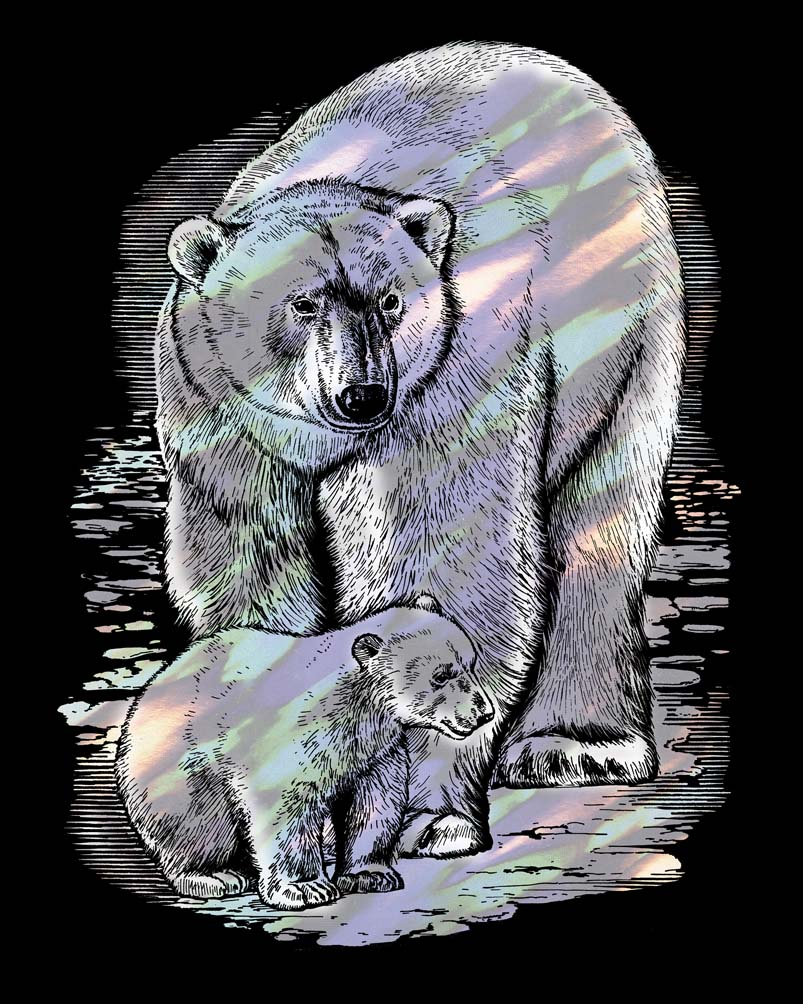 Scratch Art Polar Bear craft project