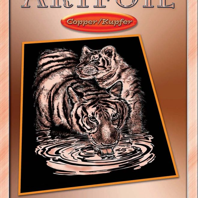 Scratch Art Tiger & Cub craft from the Artfoil Copper range