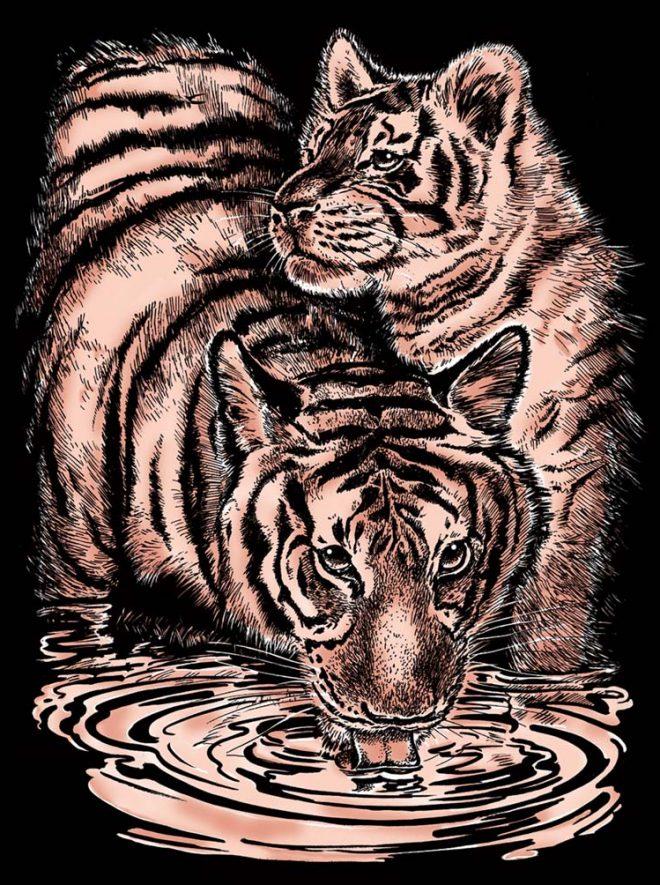 Scratch Art Tiger & Cub craft project