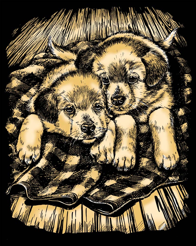Scratch Art Puppies artfoil project