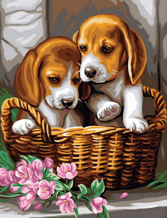 Painting by numbers basket of Puppies craft project to paint
