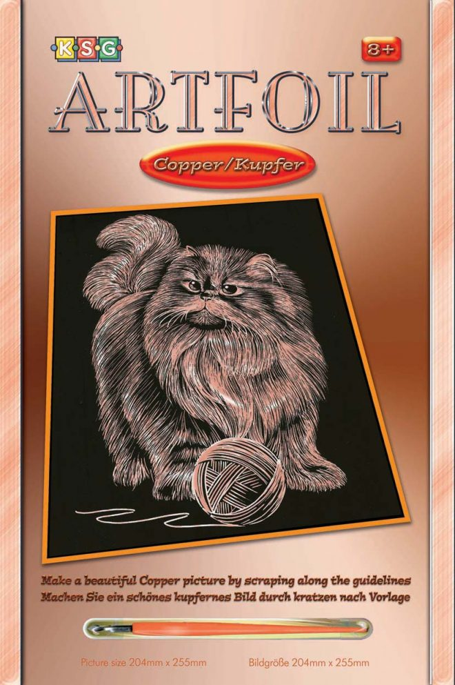 Scratch Art Persian Cat craft project from the Artfoil Copper range