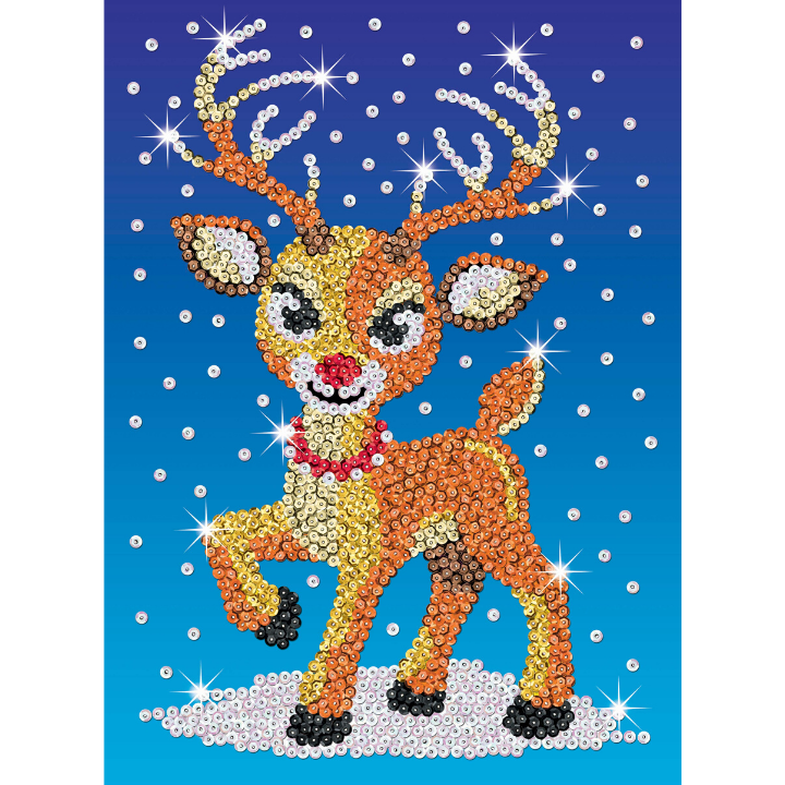 Sequin Art Ruby the Reindeer craft project from the Festive Fun range
