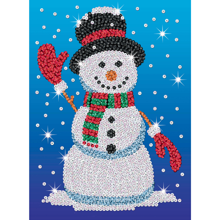 Sequin Art Norman the Snowman craft from the Festive Fun range