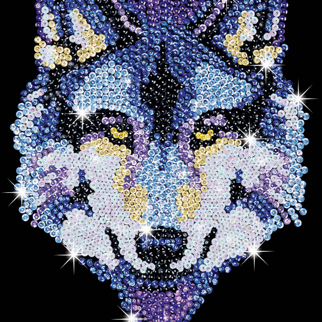 Sequin Art Wolf craft kit from the Blue range