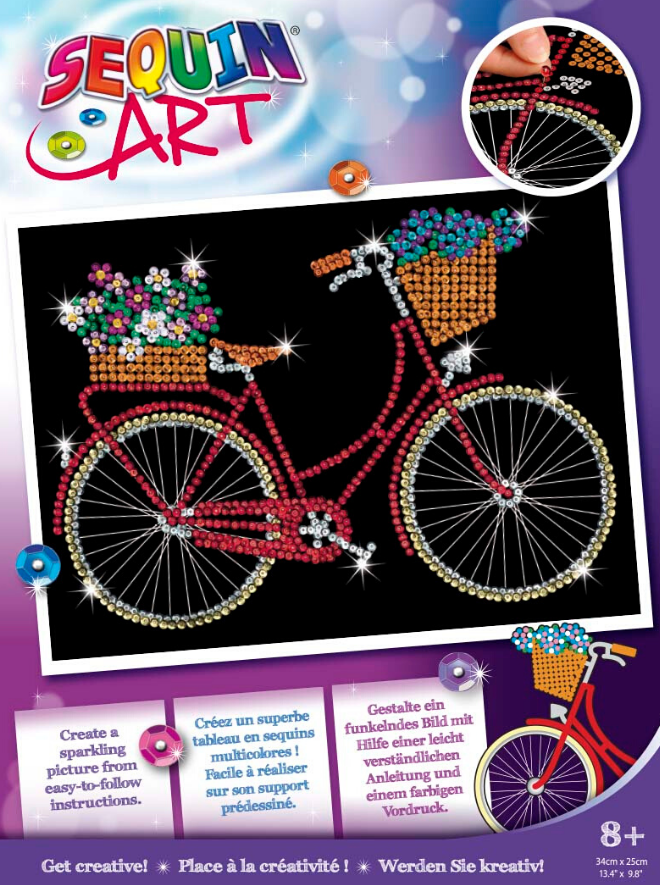 Sequin Art Bicycle craft kit from the Purple collection
