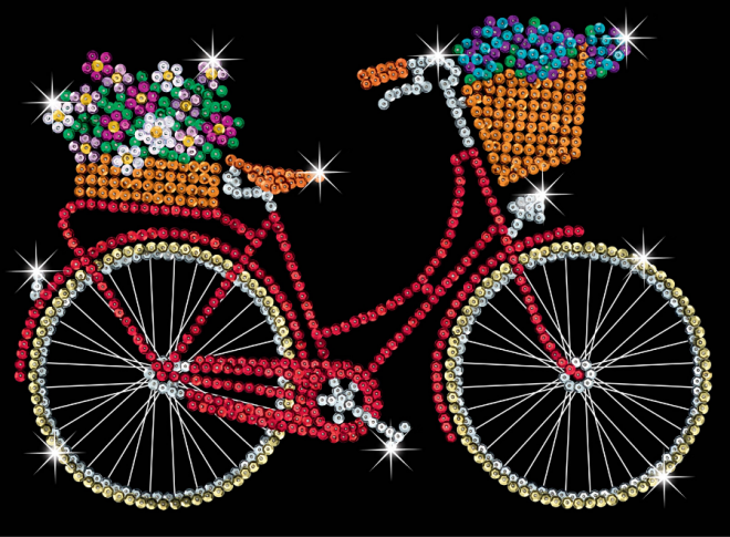 SEquin Art Bicycle craft project from the purple range