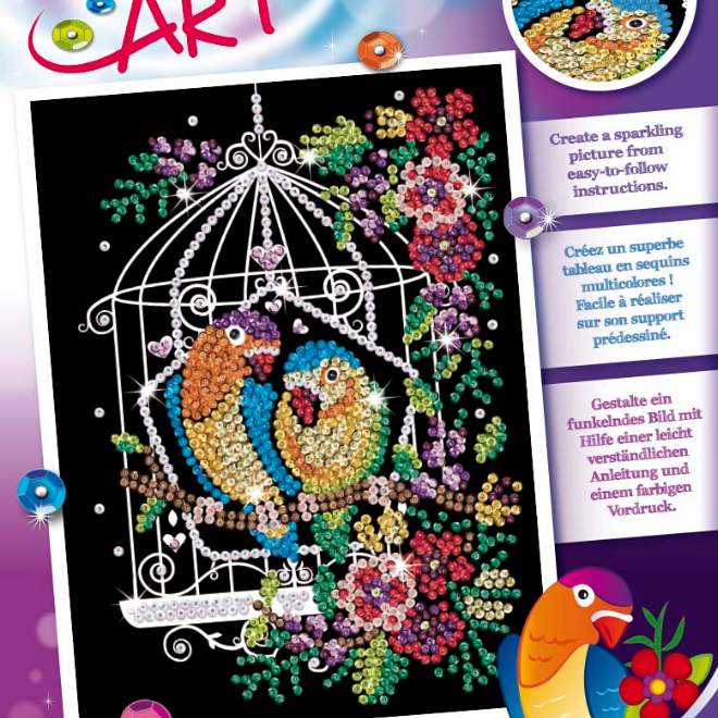 Sequin Art Birdcage craft kit from the Purple collection
