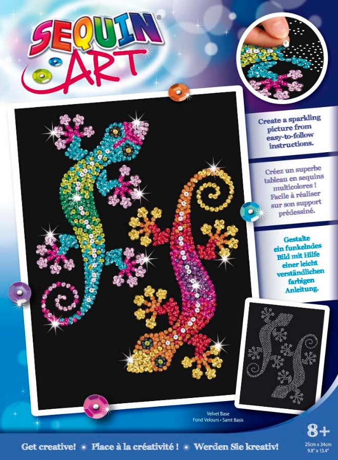 Sequin Art Geckos craft set from the Blue collection