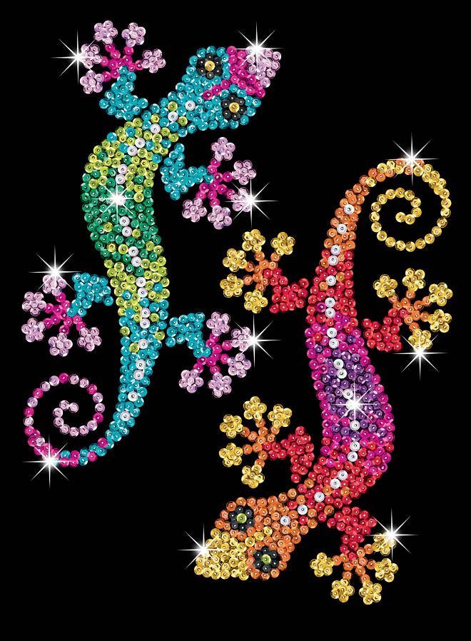Sequin Art Geckos craft kit from the Purple Range