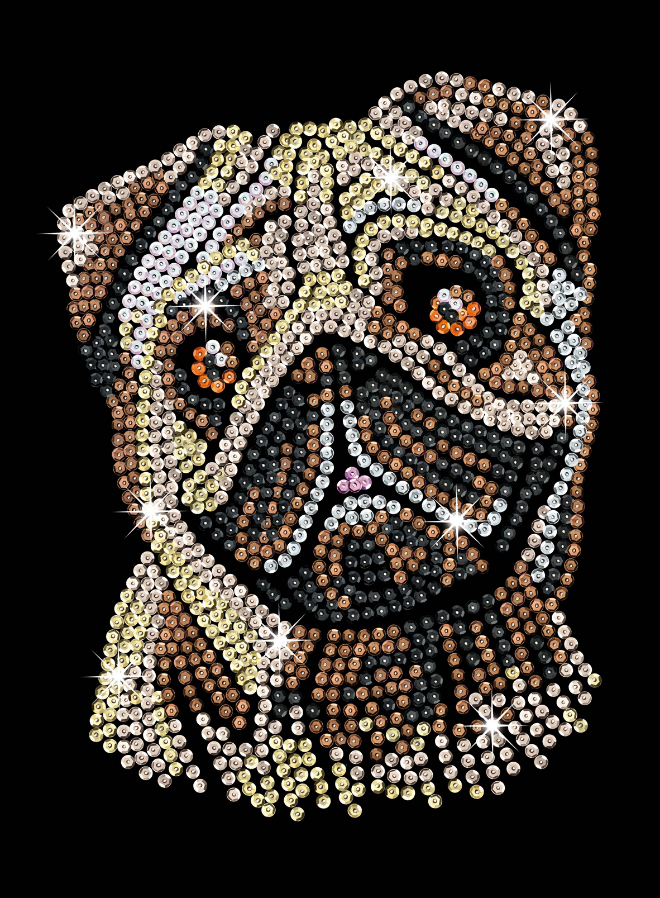 Sequin Art Pug craft project from the Blue Range