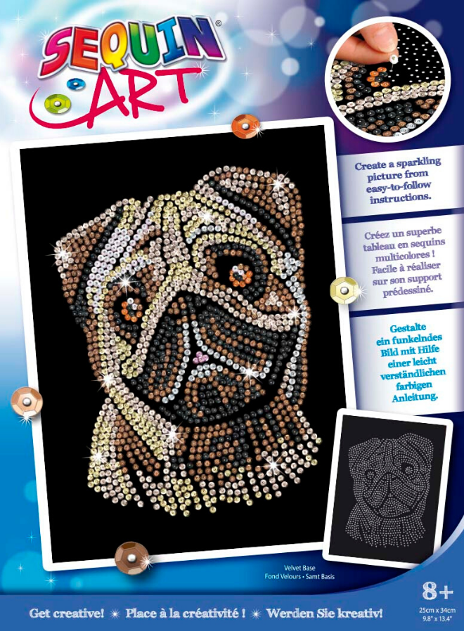 Sequin Art Pug craft set from the Blue range