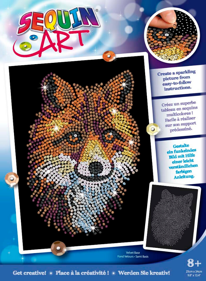 Sequin Art Red Fox craft from the Blue collection