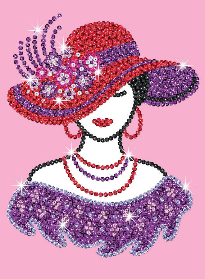 Sequin Art Red Hatter craft kit from the Purple Range